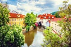 Certovka River in old Prague Stock Photos