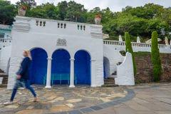 Cerulean i biały seashore pawilon, Portmeirion, Północny Walia obrazy royalty free