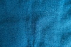 Cerulean linen fabric from above royalty free stock image