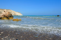 Cerulean waters of Aphrodite bay in Cyprus Stock Photography