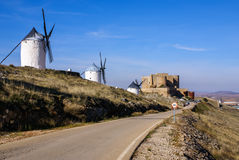 Cervantes Don Quixote windmills and Consuegra castle. Castile La Stock Photography