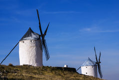Cervantes Don Quixote windmills and Consuegra castle. Castile La Royalty Free Stock Photography