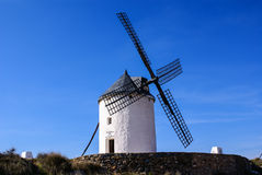 Cervantes Don Quixote windmills and Consuegra castle. Castile La Stock Photo