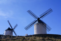 Cervantes Don Quixote windmills and Consuegra castle. Castile La Royalty Free Stock Images