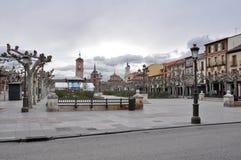 Cervantes kvadrerar, Alcala i det Madrid landskapet (Spanien) Royaltyfri Fotografi