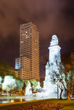 Cervantes Monument against Torre de Madrid. In Spain Square at Madrid in night Stock Photo