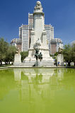 The Cervantes Monument in Madrid. View of the monument of the greatest Spanish writer Miguel de Cervantes and 2 bronze statues of his ficitonal literary Royalty Free Stock Image