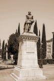 Cervantes monument, sepia Royaltyfri Fotografi