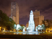 Cervantes Monument in Spain Square at Madrid Royalty Free Stock Photography