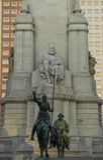 Cervantes Saavedra staty på Madrid Arkivbild
