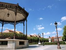 Cervantes Square from Alcala Stock Image