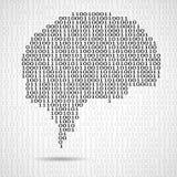 Cerveau abstrait avec le code informatique binaire Photographie stock libre de droits