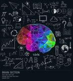 Cerveau avec beaucoup d'idées illustration de vecteur