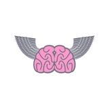 Cerveau avec des ailes Idées de logo de symbole Cerveau avec Angel Wings sur a Images stock