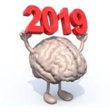 Cerveau avec des bras, des jambes et 3D l'inscription 2019 image libre de droits