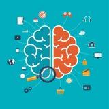 Cerveau avec le concept d'icônes pour le Web et les apps ou l'infographics mobiles Photographie stock