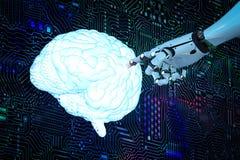 Cerveau avec le fond de circuit Image stock