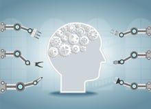 Cerveau d'AI avec des bras de robot illustration libre de droits