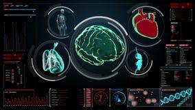 Cerveau de balayage, coeur, poumons, organes internes dans le tableau de bord d'affichage numérique vue de rayon X illustration libre de droits