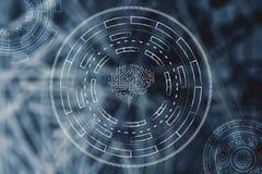 Cerveau de circuit de Digital entouré par cyberspa abstrait de technologie Image libre de droits