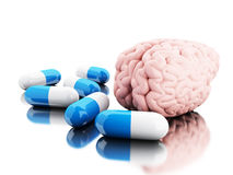cerveau de 3D A avec quelques pilules Image libre de droits