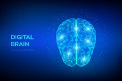 cerveau Cerveau de Digital avec le code binaire concept de la science et technologie 3D R?seau neurologique QI examinant, intelli