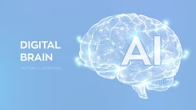 cerveau Cerveau de Digital concept de la science et technologie 3D R?seau neurologique QI examinant, ?mulation virtuelle d'intell
