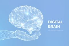 cerveau Cerveau de Digital ? disposition concept de la science et technologie 3D R?seau neurologique QI examinant, intelligence a