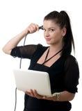Cerveau de powercord de jeune femme Images stock