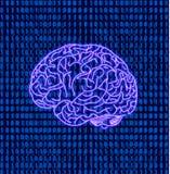 Cerveau de vecteur sur le fond de code binaire de données matricielles, Brain Illustration, icône au néon Images stock