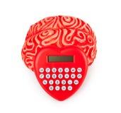 Cerveau en caoutchouc humain avec la calculatrice en forme de coeur Photographie stock libre de droits