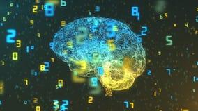 Cerveau et nombres - grandes données et statistiques - vue laissée Photo stock