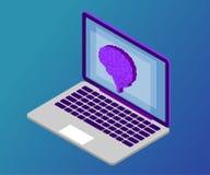 Cerveau, isométrique, ordinateur portable 1 photos libres de droits