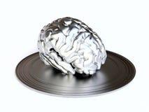 Cerveau métallique sur le plateau Photographie stock libre de droits