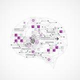 Cerveau numérique abstrait, concept de technologie illustration stock
