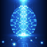Cerveau numérique abstrait de circuit électrique, concept de technologie illustration stock