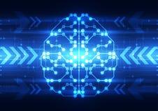 Cerveau numérique abstrait de circuit électrique, concept de technologie illustration libre de droits