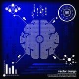 Cerveau numérique de pixel de vecteur Image libre de droits