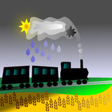 Cerveau, pluie, train et grain Images stock