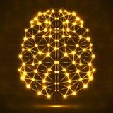 Cerveau polygonal abstrait avec les points et les lignes rougeoyants Photographie stock