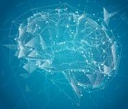 Cerveau tridimensionnel de cyber méga-données p de réseau neurologique illustration de vecteur