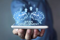 Cerveaux avec des flèches Intelligence artificielle et développement concentrés image stock