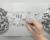 Cerveaux 3d en métal de dessin de main image libre de droits