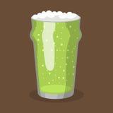 Cervecería de cristal transparente del ejemplo del vector verde de la cerveza del alcohol y bebida escarchada de la bebida del pa Imagen de archivo