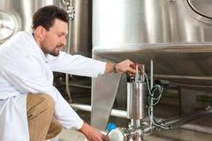 Cervecero de la cerveza en su cervecería Foto de archivo libre de regalías