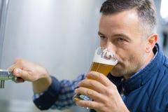 Cervecero hermoso en cerveza uniforme de la prueba en la cervecería fotografía de archivo