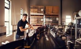 Cervecero que supervisa el proceso de la fabricación de la cerveza imagen de archivo libre de regalías
