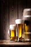Cerveja alta do vidro e da caneca Fotos de Stock Royalty Free