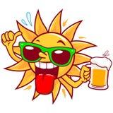 Cerveja bebendo do sol dos desenhos animados Imagem de Stock