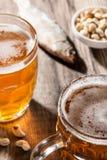Cerveja clara com peixes e os petiscos secados Fotos de Stock Royalty Free